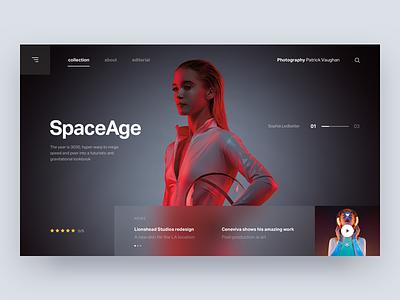 SpaceAge 🖖🏼 desktop hero photography layout interface digital web ux ui