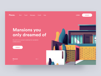 Places 🌇 ui ux digital web interface landing hero illustration colors