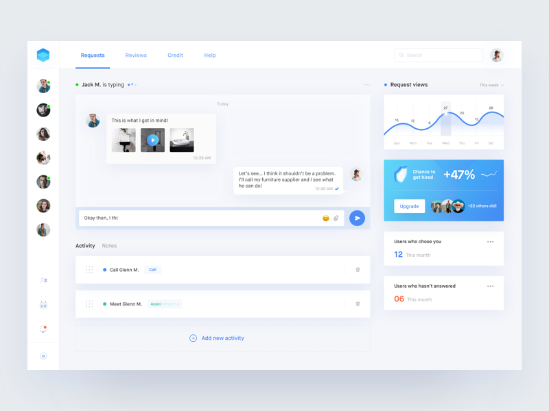 Done ✔️• Freebie desktop app freebie sketch crm chat dashboard interface web digital ux ui