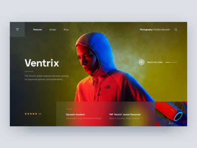 Ventrix 🏔 branding behance grid thenorthface ventrix marketing landing page product layout photography hero landing desktop interface web digital ux ui