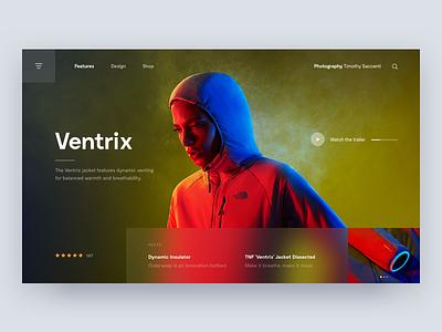 Ventrix 🏔 branding behance grid thenorthface ventrix marketing landing page product layout photography hero landing desktop interface web digital ux ui