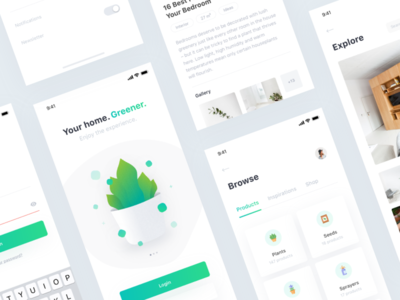 Plant 🌿 • Freebie + 2 Dribbble Invites dribbble invites invite sketch freebie kit ui plant app mobile products login