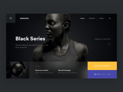 Black Series ⚫️ + 2 Dribbble Invites invites dribbble homepage navigation blur nike sport darkui photography hero web