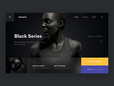 Black Series ⚫️ + 2 Dribbble Invites invites dribbble homepage navigation blur nike sport darkui photography hero web