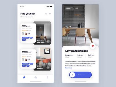 Flat  🛋 + 2 Dribbble Invites mobile app ios iphonex blur slide cards shadows rent flat apartment invites