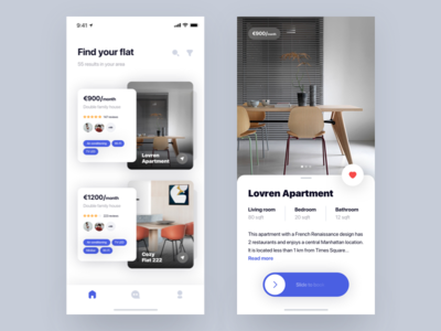 Flat  🛋 + 2 Dribbble Invites mobile app ios iphonex blur slide cards shadows rent flat apartment invites
