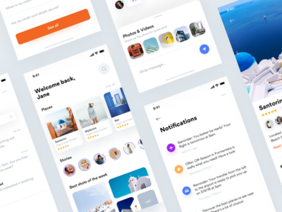 Greece 🇬🇷 • Freebie + 2 Dribbble Invites invites travel mobile sketch freebie ios iphonex stories santorini photography chat faq