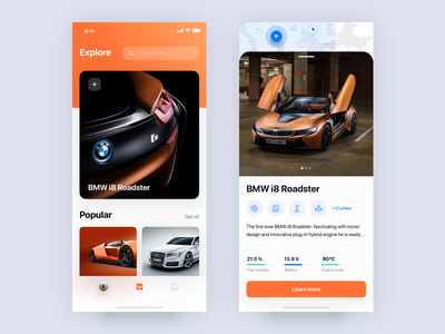 i8 🔌 bmw car ux landing hero sketch digital concept colors photography iphonex interface ui dribbble layout ios app mobile