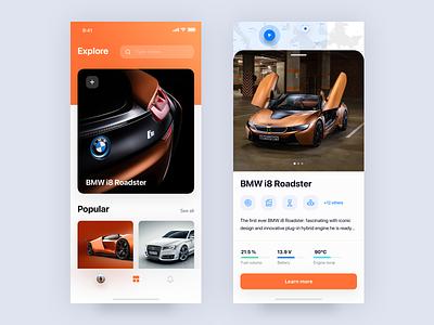 i8 🔌 bmw car ux landing hero sketch digital concept colors photography iphonex interface ui dribbble layout ios app mobile