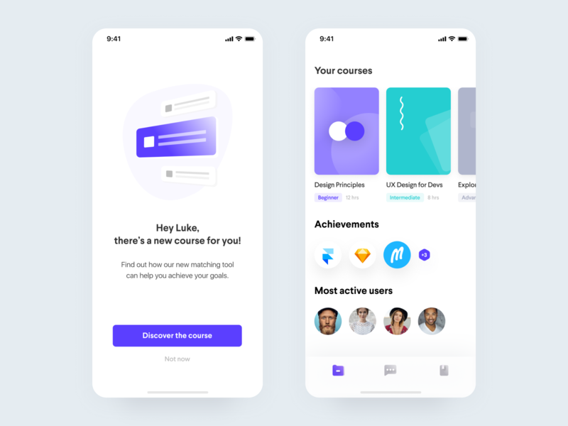 Learn 📚• Freebie + 1 Dribbble Invite iphonex academy cards gradients icons colors education course free invites invite giveaway kit freebie figma illustration ios app mobile ui