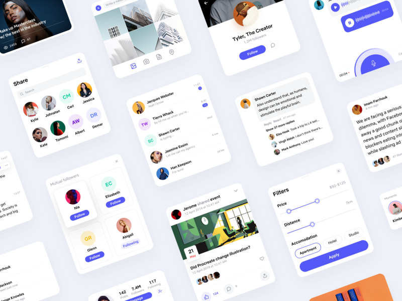 Social UI Kit 📏 • Freebie + 2 Dribbble Invites uikit figma freebie screens components iosdesign app  design mobile filters invite friends follow social avatars article profile messages gallery instagram invites invite