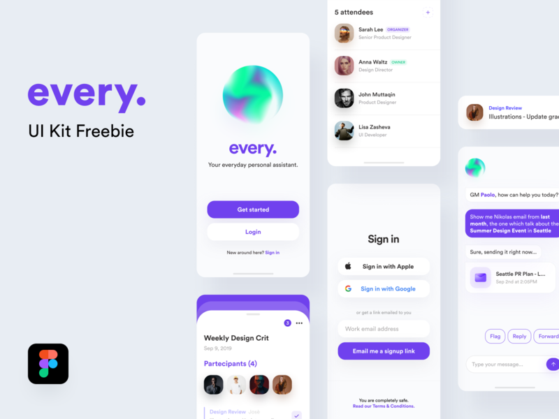 every 🔮 • Freebie sketch concept card illustration gradient onboarding calendar event giveaway figma freebie signup login message assistant ios mobile app mobile