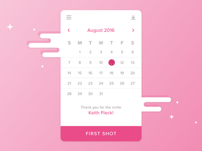 Hey, Dribbble daily ui first shot design mobile flat ux calendar pink dribbble