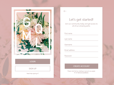 Daily UI #1 - Sign in screen screen mobile page up in sign 1 ui daily floral