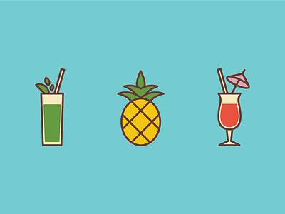 Drinks illustration. illustrations flat neon bright pineapple tropical drinks