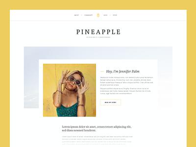 Pineapple Splash minimal modern website blog pineapple yellow