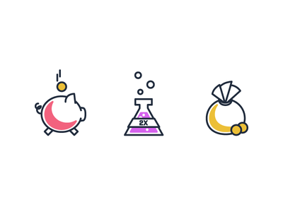 Mixer Illustrations a color game games video bag money bank piggy cute spot line illustration