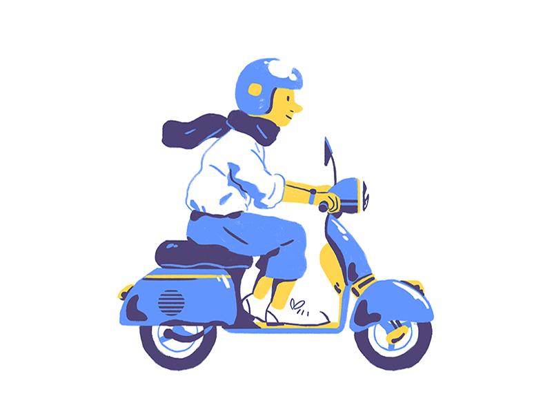 Vespa Cruising color design illustration flat vespa bike
