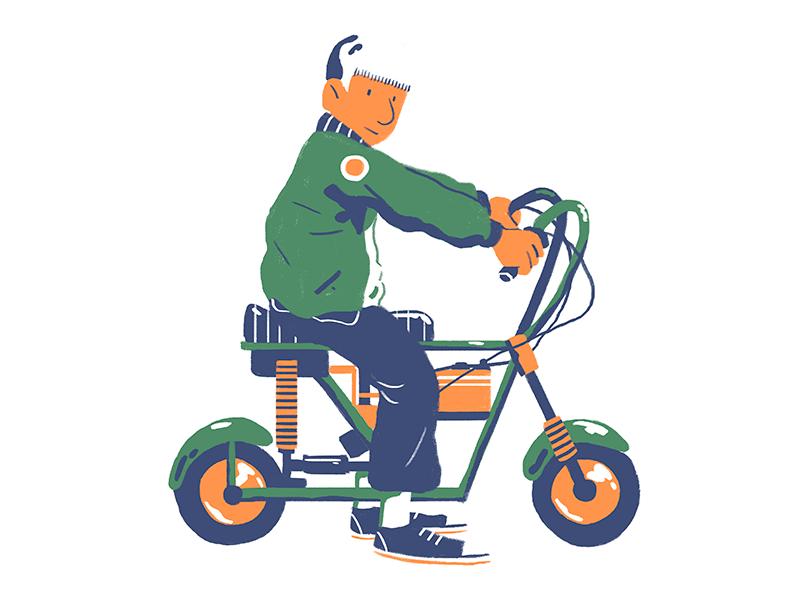 Mini Bike color design illustration flat mini bike