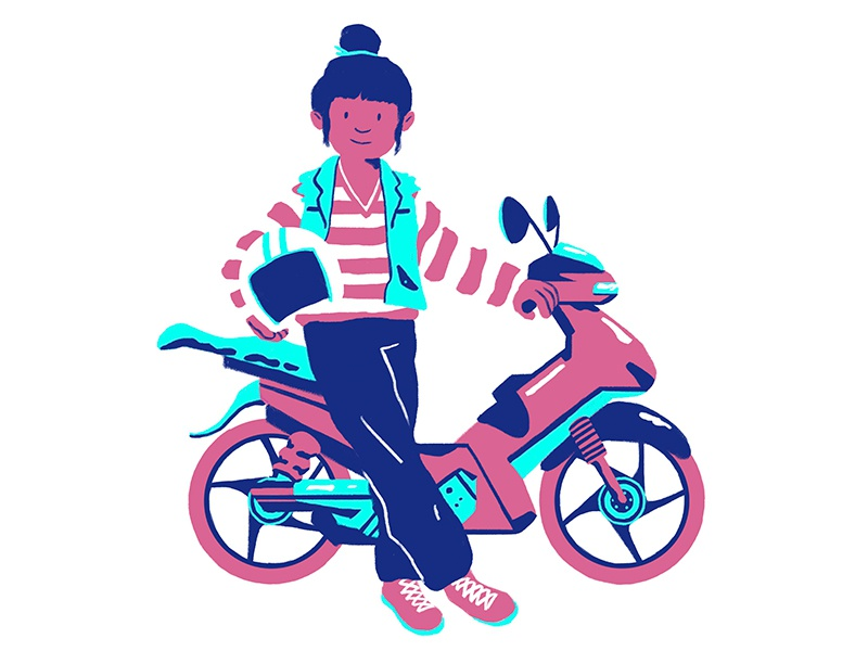 Pink and Blue scooter illustrator design illustration flat mini bike