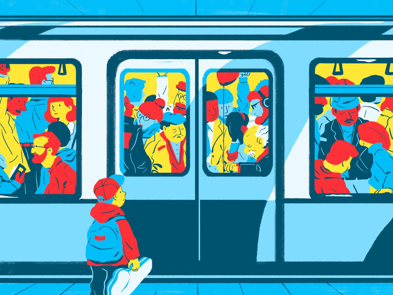 Heading Home subway 2d illustration