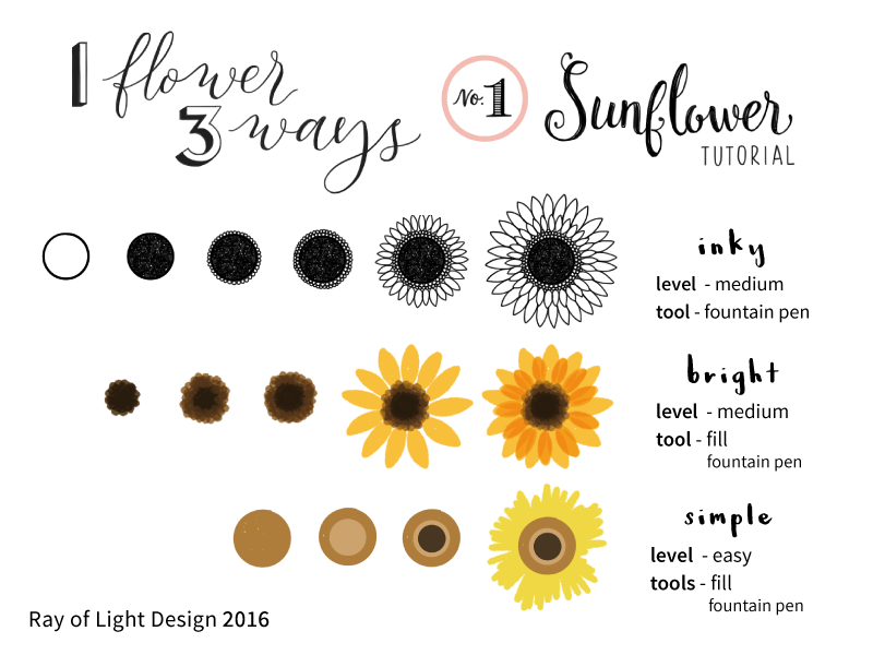 1 Flower 3 Ways Drawing Tutorial 1 Sunflower By Ray Of Light Design On Dribbble