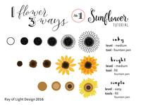 1 Flower, 3 Ways Drawing Tutorial -- #1 Sunflower