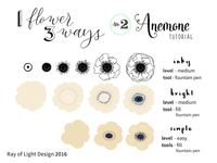 1 Flower, 3 Ways Drawing Tutorial -- #2 Anemone