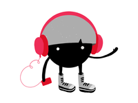 Bowlcut Character Jamming With Headphones