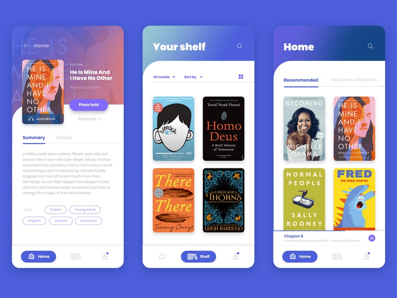 Overdrive Libby — Shelf & Book Details app design ux design branding uxui ui design uidesign ui reading app reading library ebooks ebook book app audiobooks audiobook application app