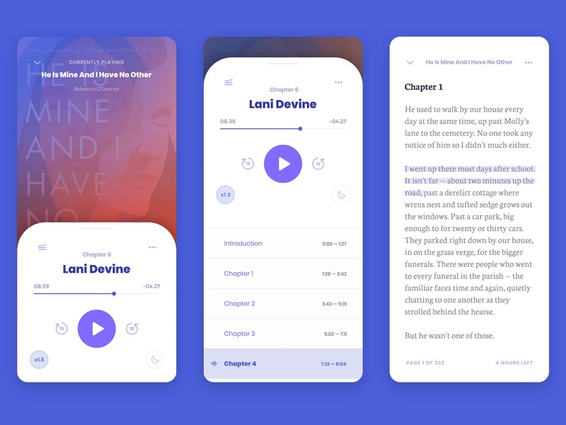Overdrive Libby — Audiobook & e-Book UI by Lydia Ding on