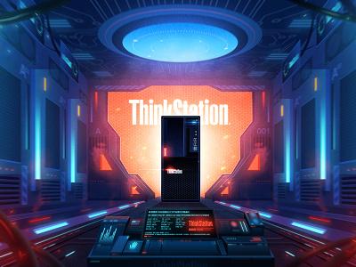 ThinkStation Poster poster illustration