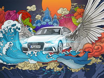Audi Poster banner kv a7 illustration audi poster