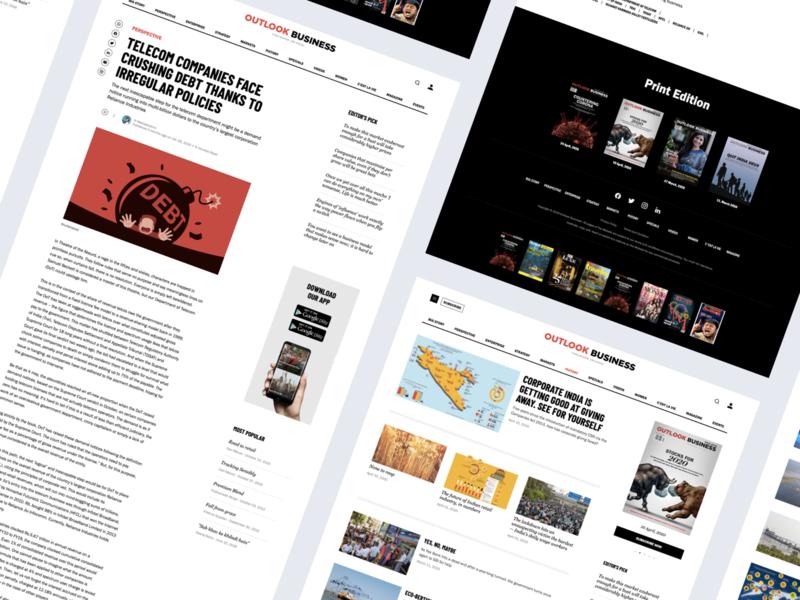 Outlook Business - News portal responsive subscription online magazine article page website ux design ui