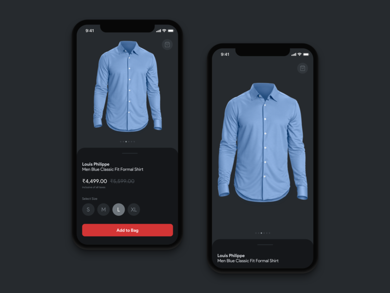 Shop/eCommerce app screen ecommerce app ecommerce dress cloth app shopping app product page dark theme ios android app app ux concept design ui