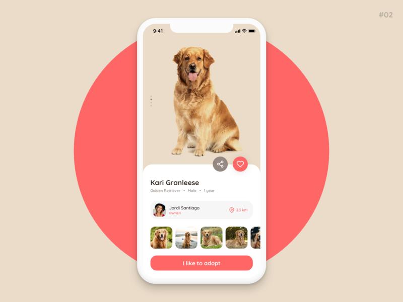 Adopt a pet   App UI pet app pet shop adoption pet ios android app app ux concept ui design