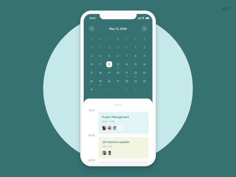 Event calendar   app design concept dailyui clean design green color android ios design app calendar event