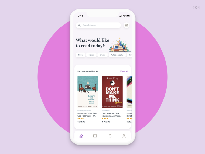 Library app - buy and read books online daily ui android app ios app read book buy book app library