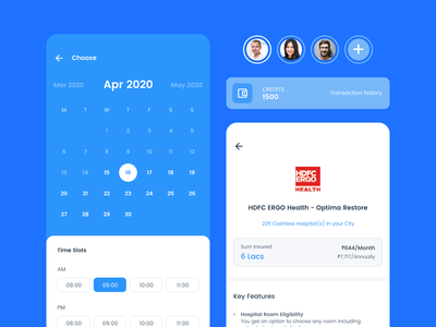 Appointment booking. Buy insurance blue and white credits wallet profile buy insurance appointment booking calendar ui blue ios android app app ux concept ui design