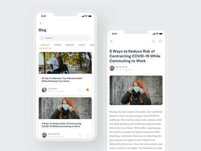 Blog App UI card ui card article design article page blog app reading white ios android app ux ui design