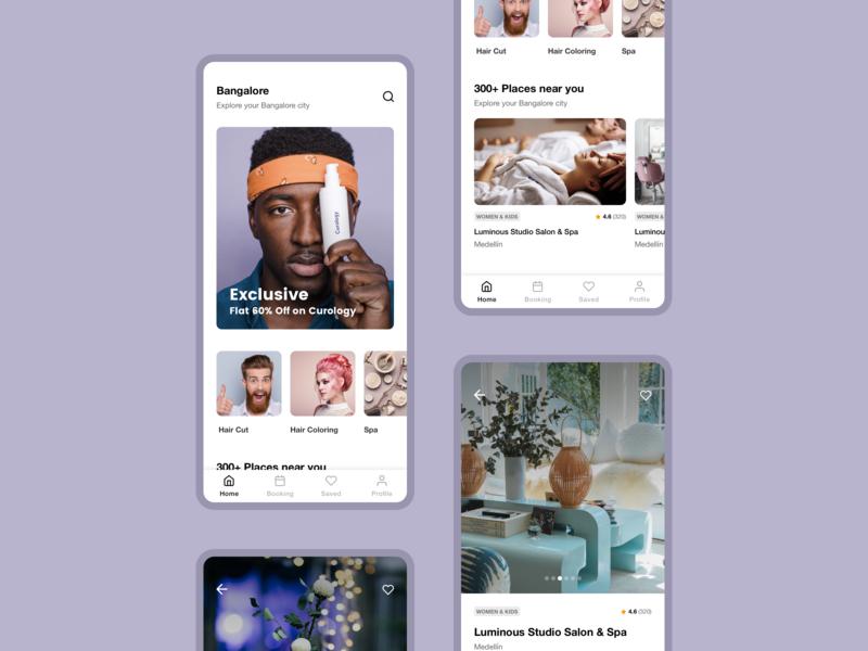 App UI design concept white app design whitespace clean ui online booking salon spa android app ios app ux concept design ui