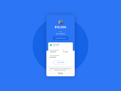 Payment UI - G Pay concept