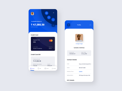 Banking App UI Design account details profile image profile user profile more menu bank account creditcard credit card accounting banking app finance app android app ios ux app concept design ui