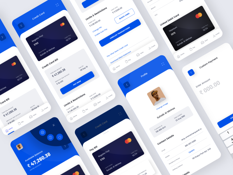 Banking App UI Design white blue app profile profile ui user profile bank app bill payment online accounting credit card banking app finance app ux app design concept ui