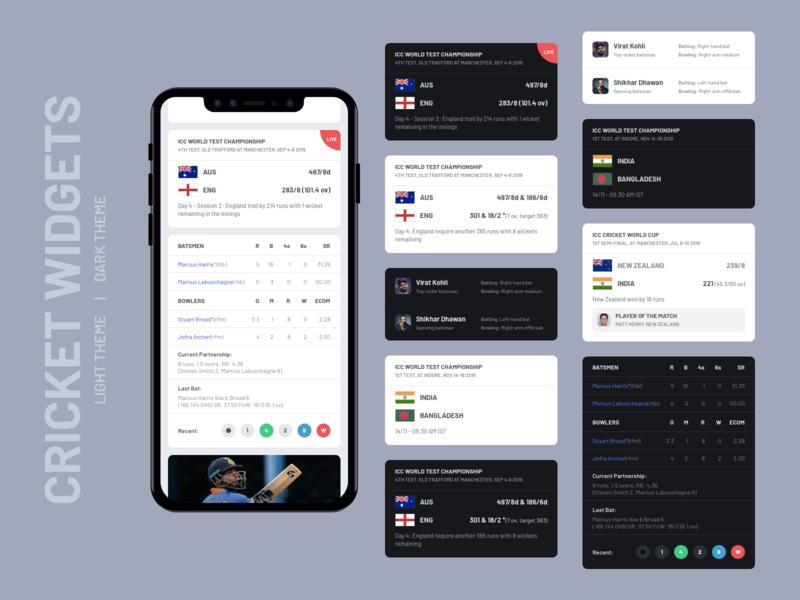 Cricket Widgets UI Design   Light and Dark Theme card design match live score card ui light theme dark theme cricket app widget widgets cricket ios android app ux app design concept ui