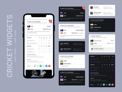 Cricket Widgets UI Design | Light and Dark Theme card design match live score card ui light theme dark theme cricket app widget widgets cricket ios android app ux app design concept ui