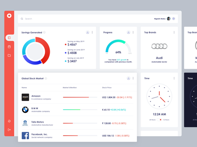 dashboard UI - Market clean ui dashboard design stock market market brand chart clock time design ui dashboad dashboard ui accounting finance app website ux app design ui concept
