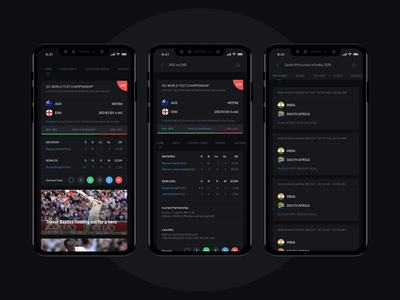 Cricket App  |  Dark Theme cricket app sports design live update news dark ui black live match cricket dark theme sports app sports ios app ux design ui