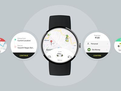 Ola app smart watch app ui concept iot watch interface ola cab booking watch ui watch app apple watch design android watch smart watch app ux concept design ui