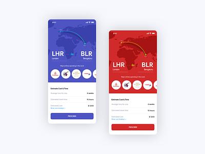 Travel cost calculator ui app concept ui ux design creative design calculator blue red booking flight booking app ios android app app ux concept design ui